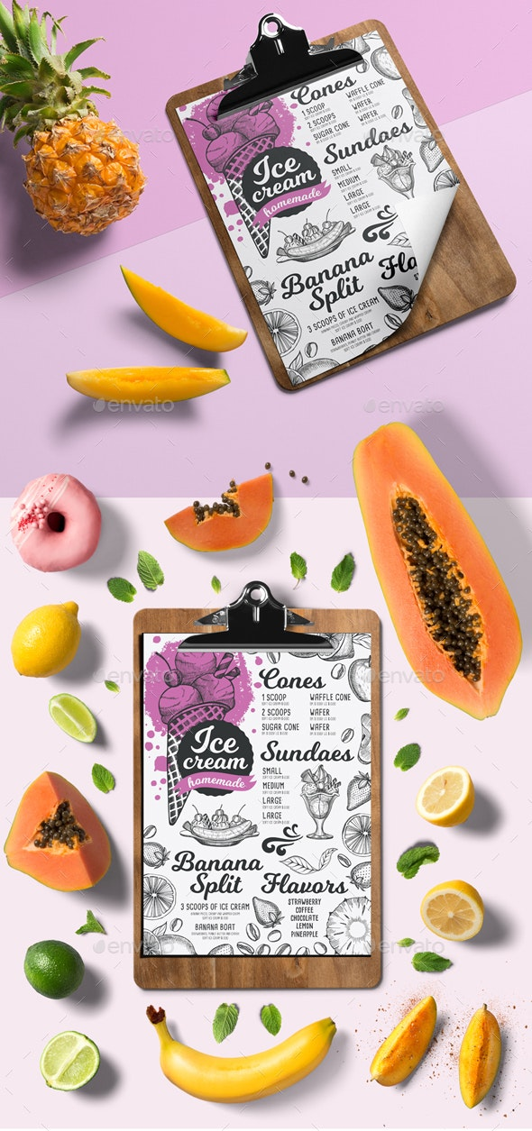 Ice Cream Menu - Food Menus Print Templates