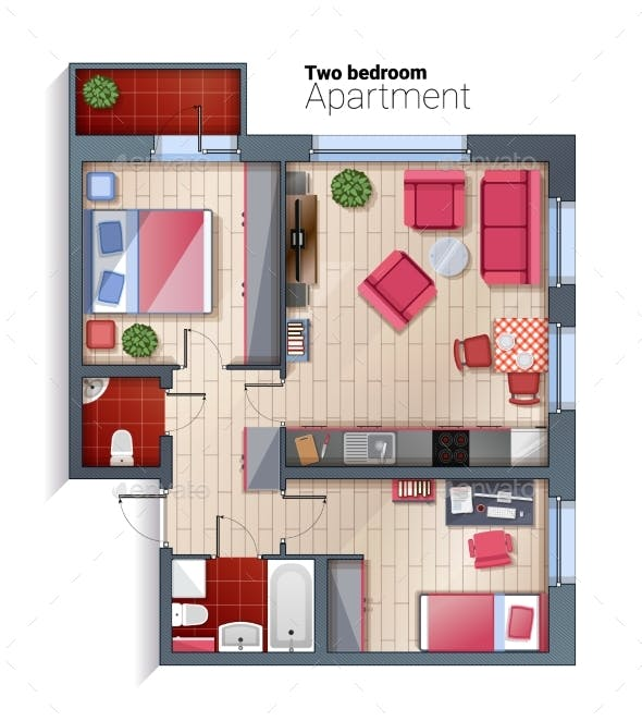 Vector Modern Two Bedroom Apartment Top View By Skypicsstudio
