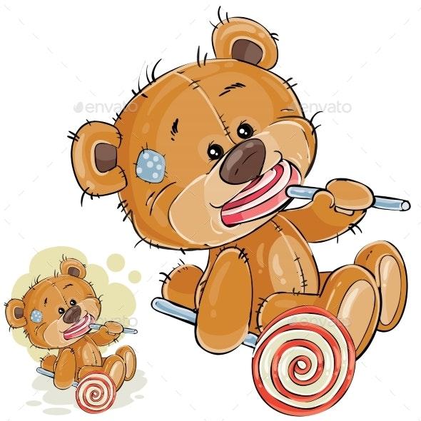 Vector Illustration of a Brown Teddy Bear - Abstract Conceptual