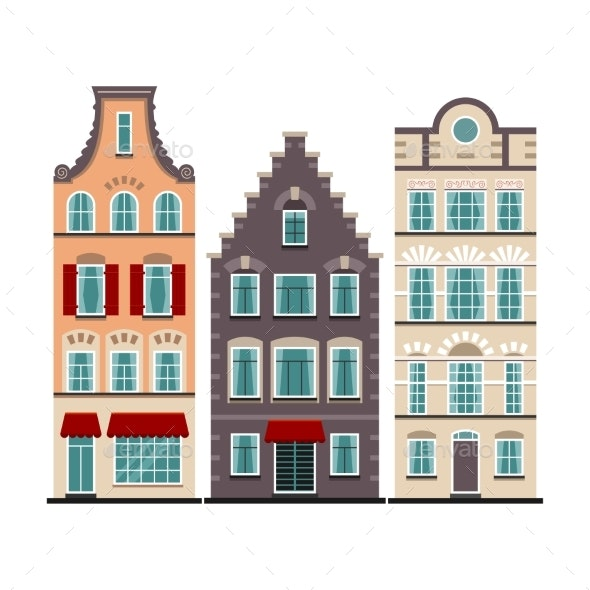 Set of 3 Amsterdam Old Houses Cartoon Facades - Buildings Objects