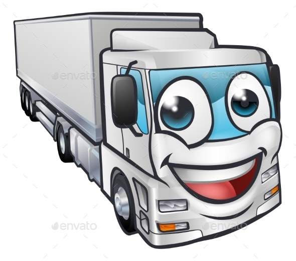 Cartoon Truck Lorry Transport Mascot Character - Man-made Objects Objects