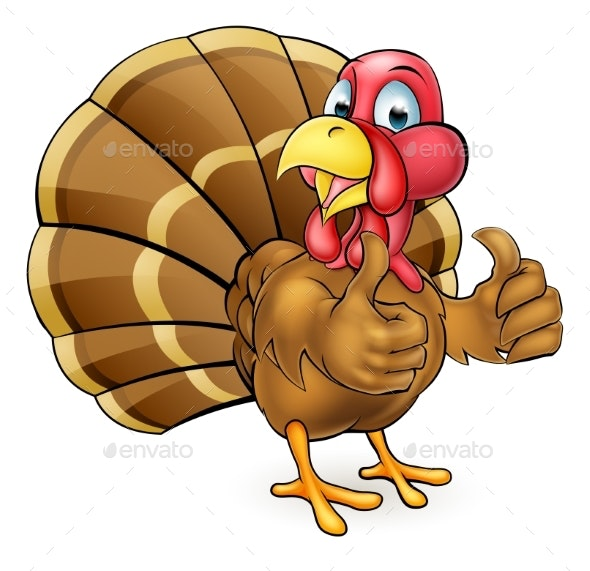 Cartoon Turkey Bird Giving Thumbs Up - Animals Characters