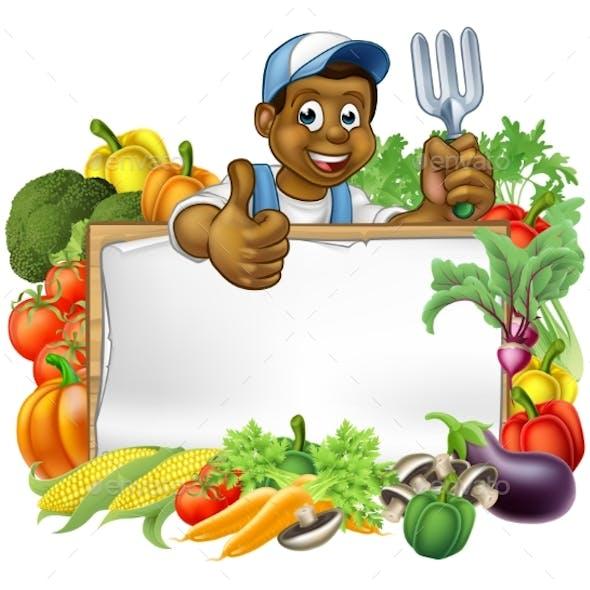 Cartoon Black Gardener Vegetables Sign