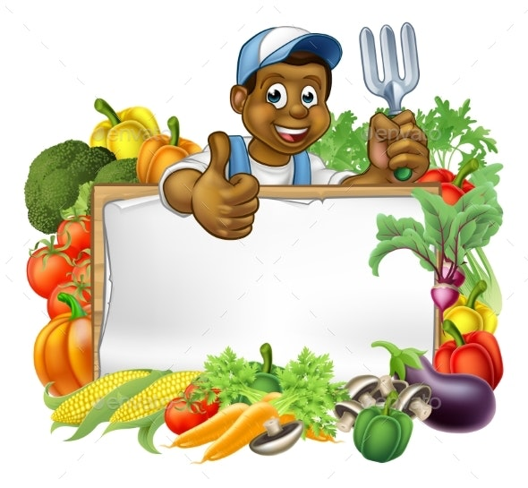 Cartoon Black Gardener Vegetables Sign - Food Objects
