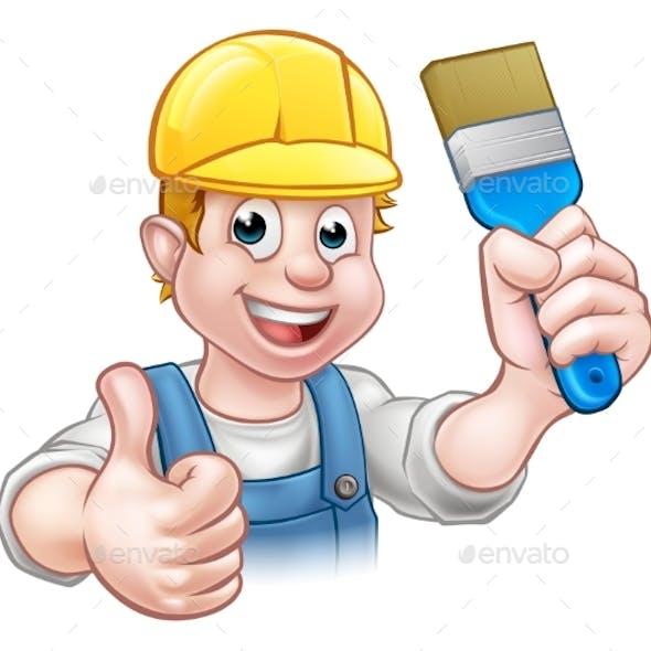 Painter Decorator Holding Paintbrush