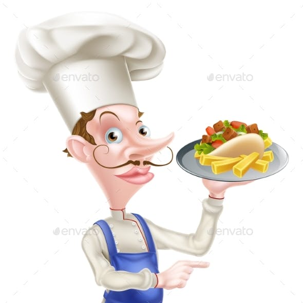 Cartoon Chef With Pita Kebab and Fries