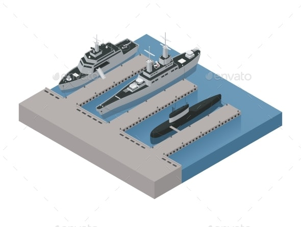 Military Boats Isometric Composition - Man-made Objects Objects