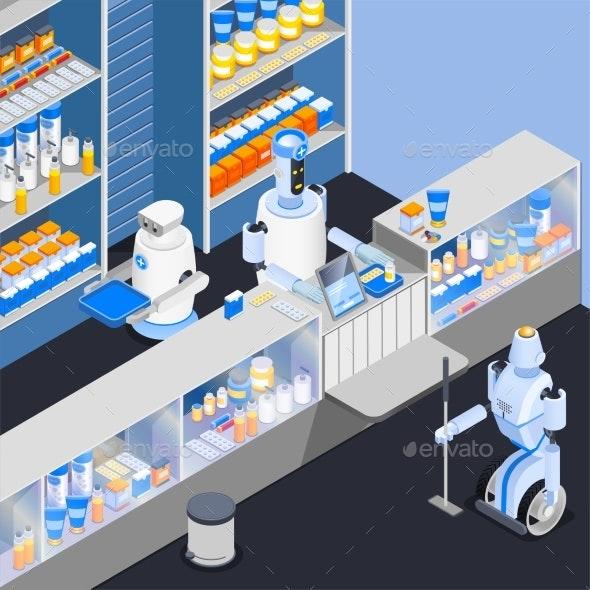 Robot Service Workers Composition - Health/Medicine Conceptual