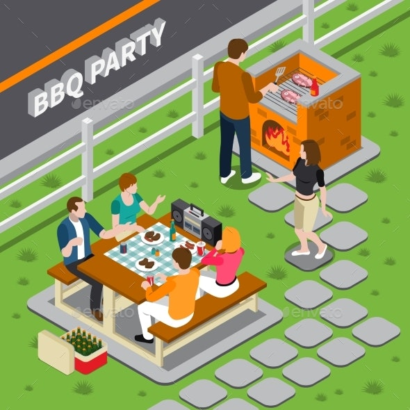 BBQ Party Isometric Composition - People Characters