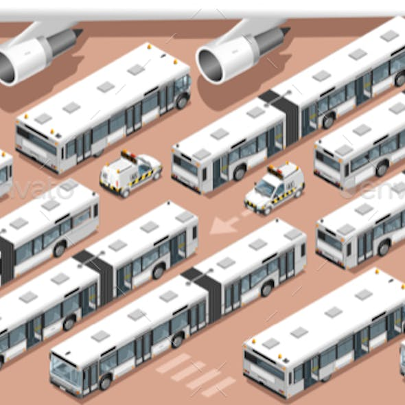 Airport Terminal Airfield Bus Shuttle 3D Vehicle Isometric Set