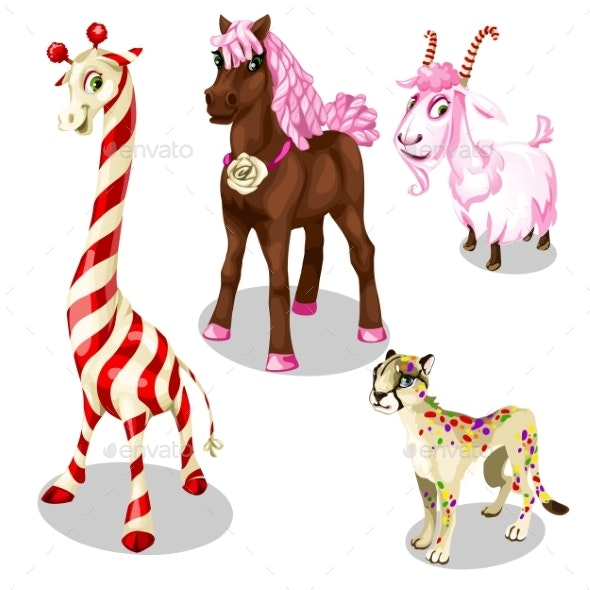 Stylized Horse, Cougar, Goat, Giraffe Under Sweets - Animals Characters