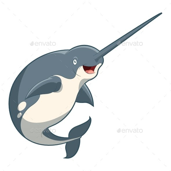 Cartoon Smiling Narwhal