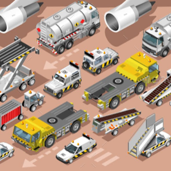 Airport Terminal Airfield Vehicles 3D Vehicle Isometric Set