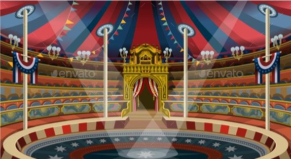 Circus Carnival Banner Tent Invite Theme Park Vector Illustration - Vectors