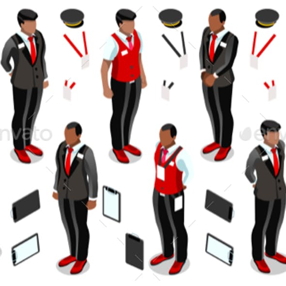 Isometric Hotel Reception Icon Set Collection Vector Illustration