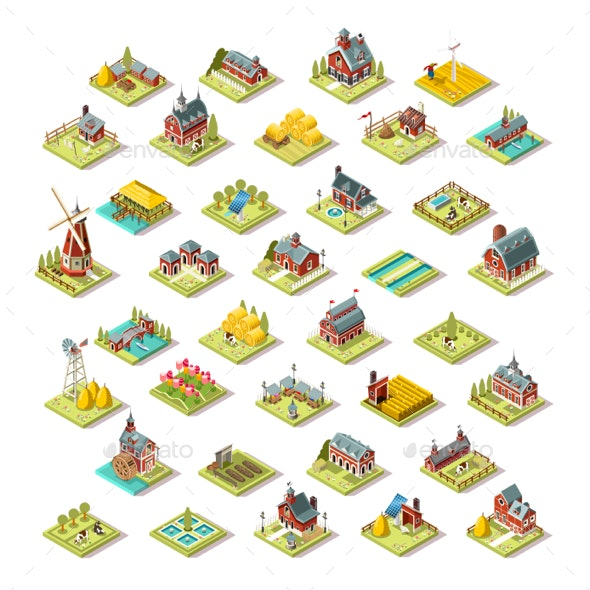 Isometric Isolated Farm Building Icon Set Vector Illustration - Buildings Objects