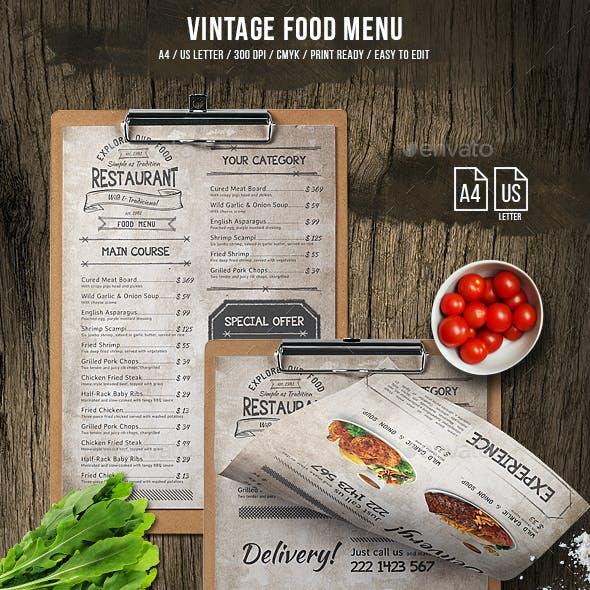 Vintage Food Menu by PeakStar