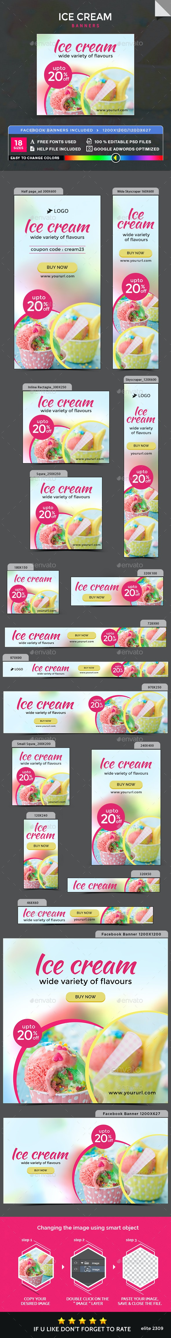 Icecream Banners - Banners & Ads Web Elements