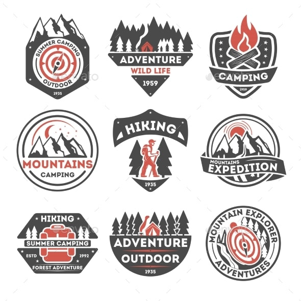 Adventure Outdoor Vintage Isolated Label Set - Food Objects