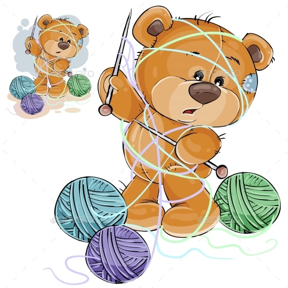 Brown Teddy Bear Holding Knitting Needle - Animals Characters