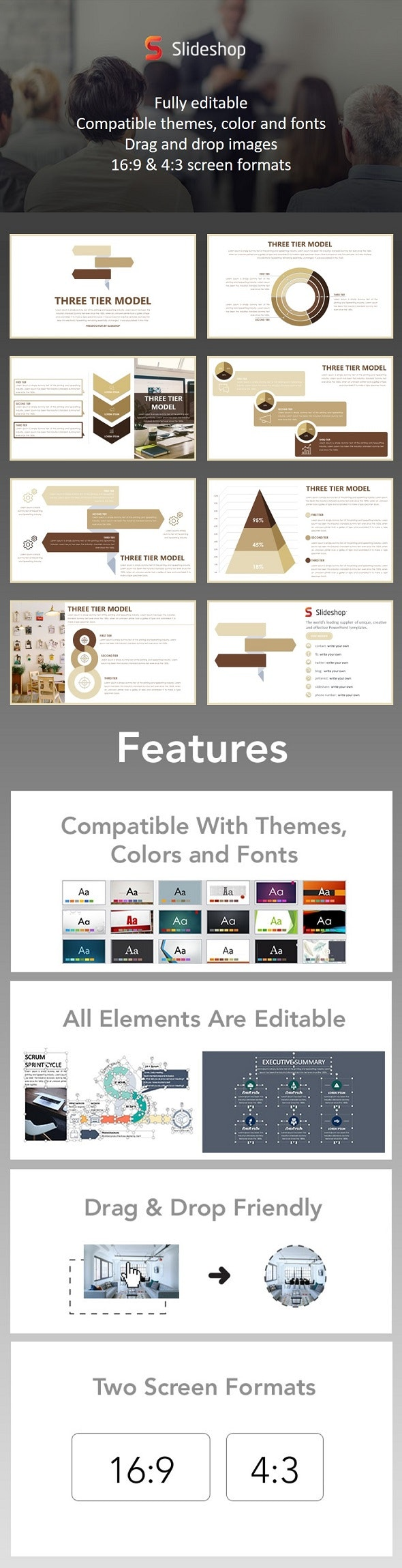 Three Tier Model - PowerPoint Templates Presentation Templates