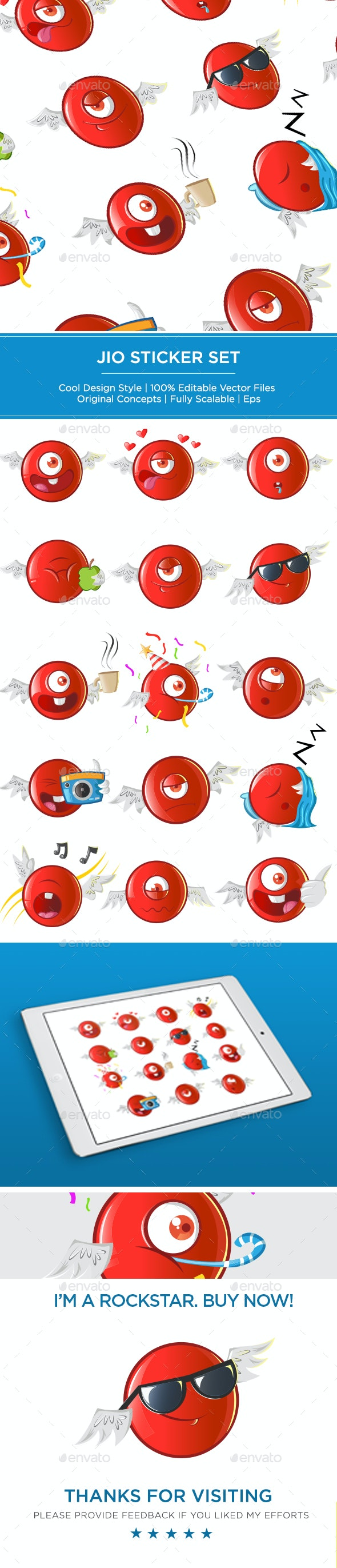 Jio Sticker Set - Miscellaneous Characters