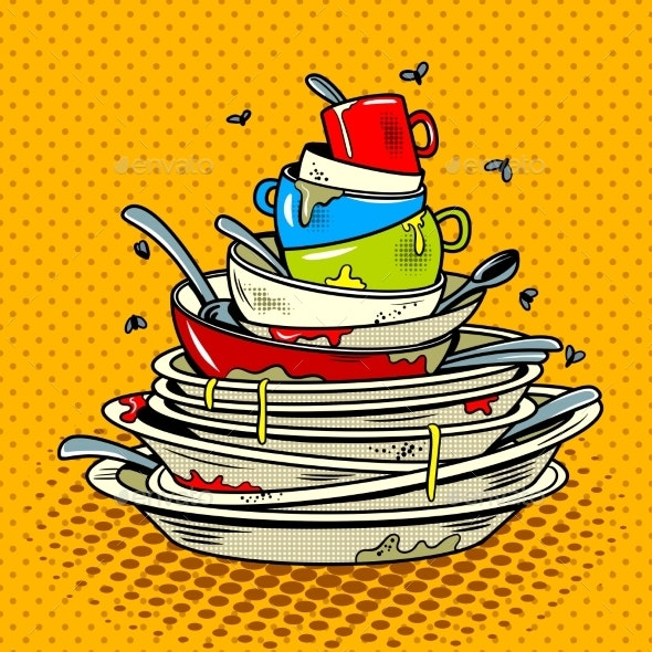 Dirty Dishes Comic Book Style Vector Illustration - Man-made Objects Objects