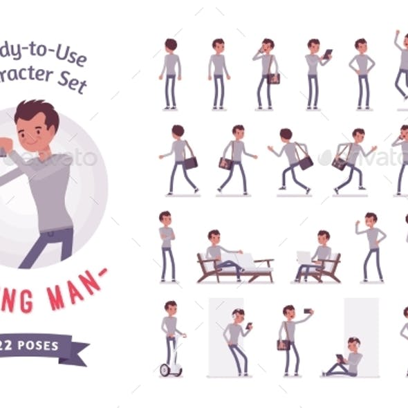 Ready-to-Use Young Man Character Set