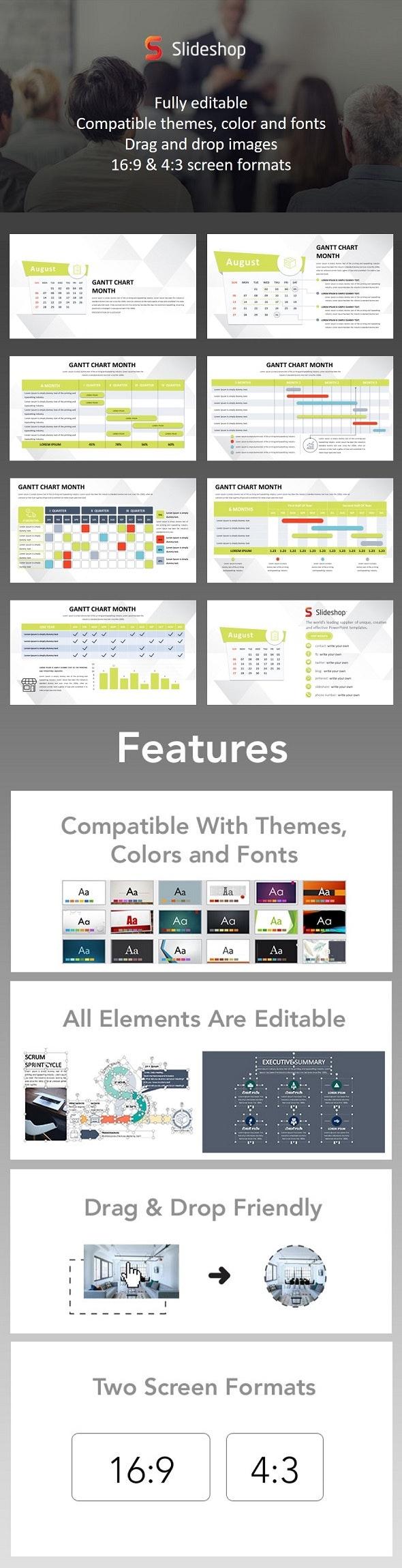 Gantt Chart Month - PowerPoint Templates Presentation Templates