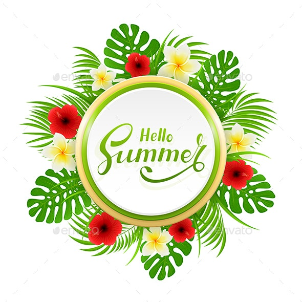 Card with Lettering Hello Summer and Palm Leaves - Flowers & Plants Nature