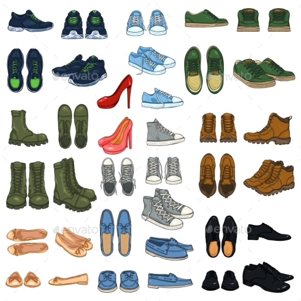 Set of 37 Shoe Illustrations - Man-made Objects Objects