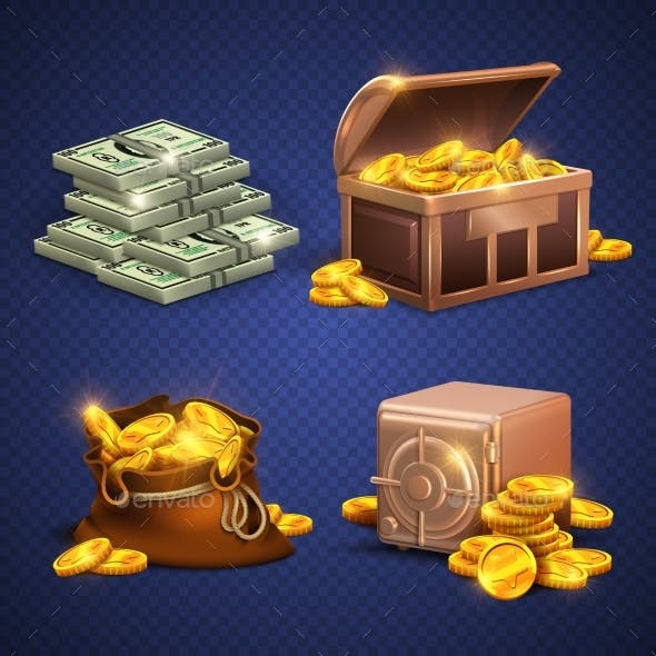 Casino Vector 3D Signs and Money Icons