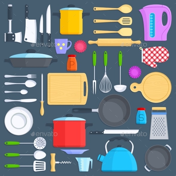 Kitchen Tools, Cookware and Kitchenware Flat Icons - Man-made Objects Objects