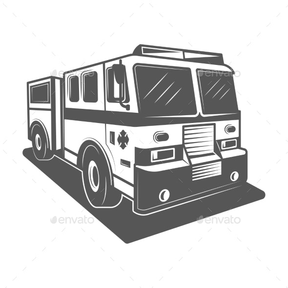 Fire Truck Vector Illustration in Monochrome - Man-made Objects Objects