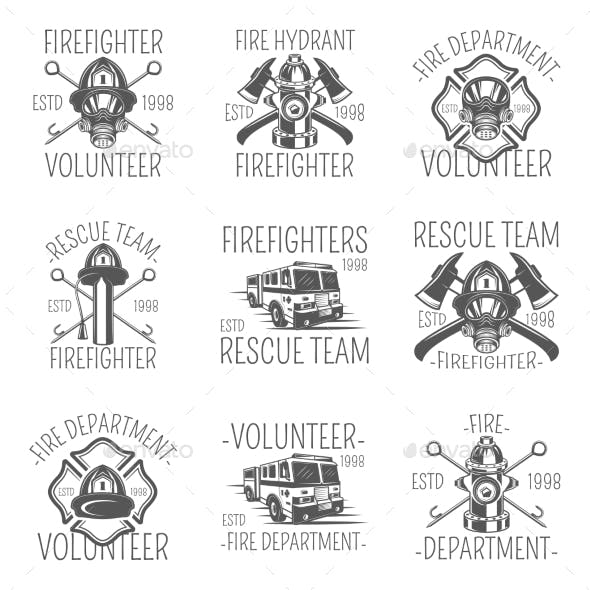 Set of Firefighter in Monochrome Style Logos