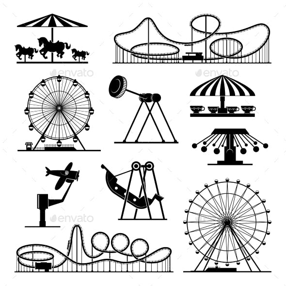 Vector Icons of Different Attractions in Amusement