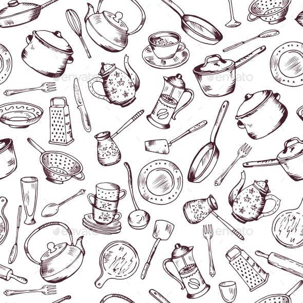Kitchen Cooking Elements Seamless Pattern - Backgrounds Decorative