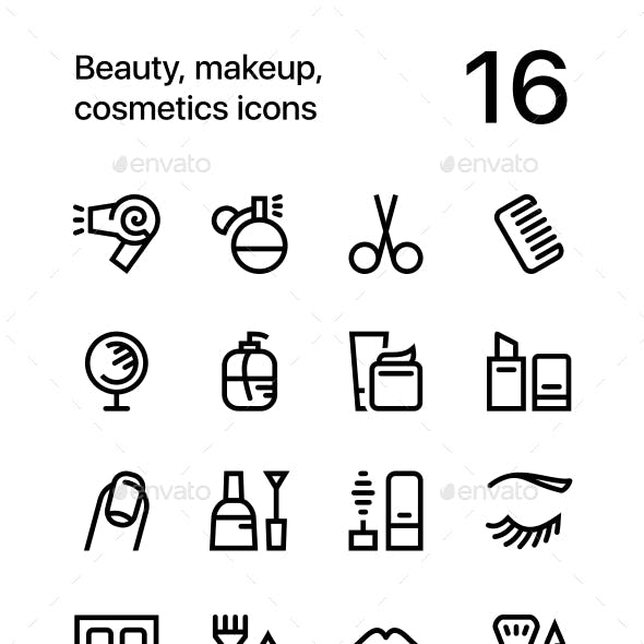 Beauty, Cosmetics, Makeup Icons for Web and Mobile Design Pack 1