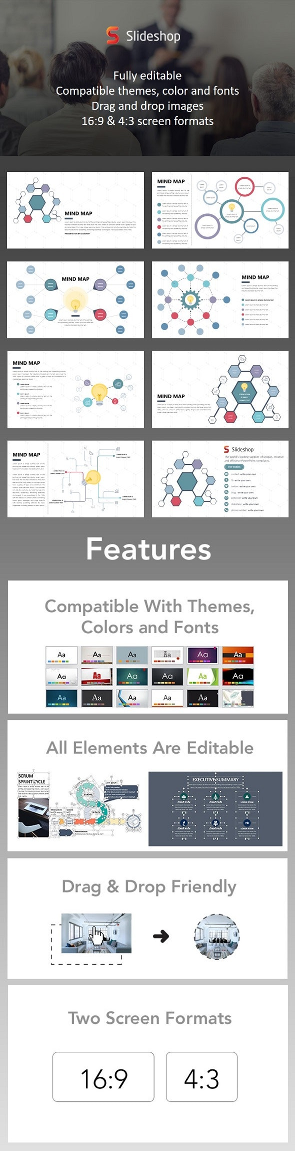 Mind Map - Light Bulbs - PowerPoint Templates Presentation Templates