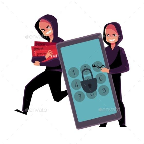 Hacker Cracking Smartphone Breaking Pin Code
