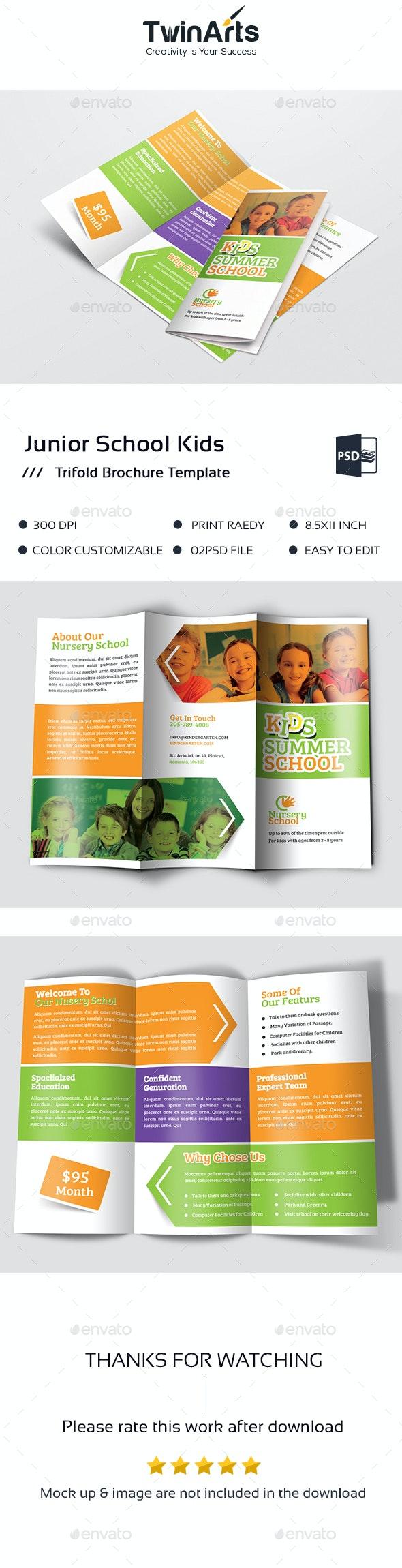 Junior School Kids Trifold - Brochures Print Templates