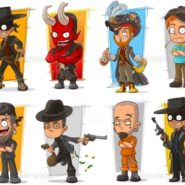 Set of Cartoon Bad Guys Characters