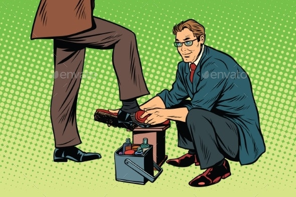 Businessman Shoe Shiner - People Characters