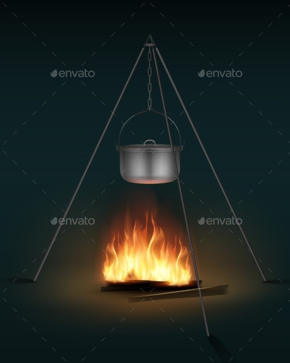 Camping Pot on Bonfire - Miscellaneous Vectors