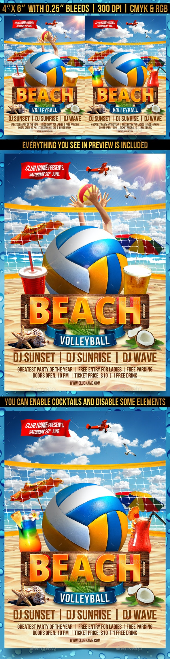 Beach Volleyball Flyer Template - Clubs & Parties Events