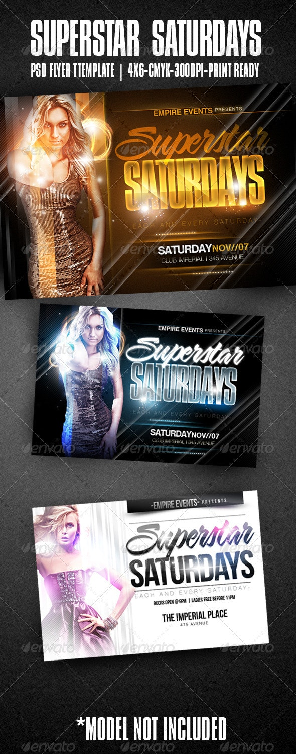 Superstar Saturdays Party Flyer - Clubs & Parties Events