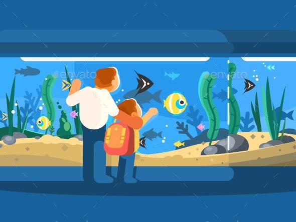 Dad with Son in Oceanarium - Miscellaneous Vectors