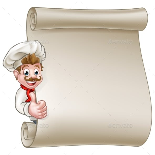 Cartoon Chef Menu Scroll