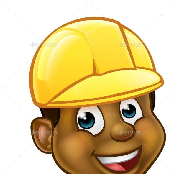 Black Handyman Hard Hat Thumbs Up