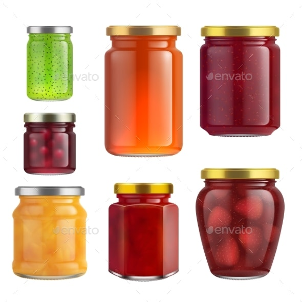 Fruit Jam Jar Glass Isolated on White Background. - Food Objects
